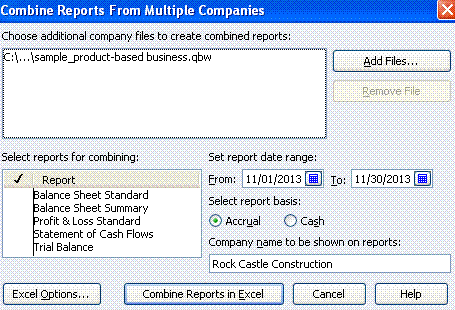 Quickbooks Combine Report